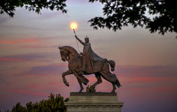 St. Louis Statue. The moon over the Apotheosis of St. Louis statue of King Louis IX of France, namesake of St. Louis, Missouri in Forest Park, St. Louis Stock Image