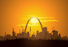 St. Louis Sunset. Downtown St. Louis visible from East St. Louis, during sunset Stock Photos