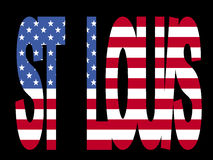 St Louis text with flag. Overlapping St Louis text with American flag illustration Royalty Free Stock Images