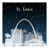 St Louis winter. Night city in flat style for banner, poster, illustration, game, background. Nightlife and starry sky in St Louis Royalty Free Stock Photo