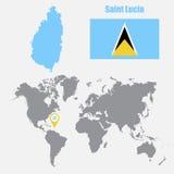 St Lucia översikt på en världskarta med flagga- och översiktspekaren också vektor för coreldrawillustration stock illustrationer