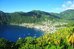 St Lucia. Town of Soufriere in the Caribbean island St Lucia Stock Photography