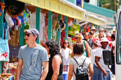St. Lucia - Caribbean Souviner Shopping. A view of cruise tourists on an island taxi tour excursion shopping for local arts, crafts and souvenirs available at Stock Photos