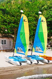 St. Lucia - Hobie Cat Sailboats. Kayaks, sailboats and other diversions await you with a fantastic view of the world famous Gros Piton from Jalousie Beach that Stock Photo