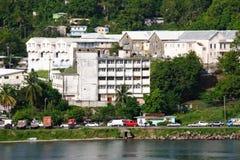 St Lucia, karibische Hauptverkehrszeit in Castries Lizenzfreie Stockfotos