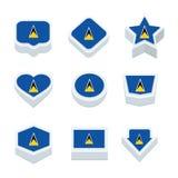 St Lucia markeert pictogrammen en de knoop plaatste negen stijlen Royalty-vrije Stock Fotografie