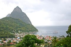 St. Lucia Pitons & Ship Stock Photos