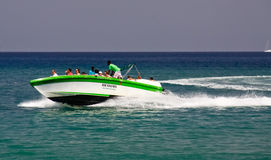 St. Lucia - Speed Boat Cruising Tour Fun Stock Photos