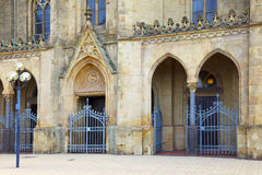 The St. Ludwig Catholic church in Saarlouis. The St. Ludwig Catholic church in city Saarlouis, the entrance with lattice doors, Saarland - Germany Stock Images
