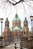 St Lukas Church, Munich. St Lukas Church, view from the bridge Stock Photo