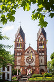 St lutwinus church in spring, mettlach saarland Royalty Free Stock Image