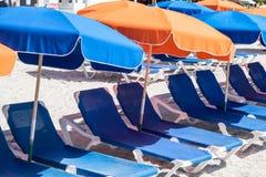 St. Maarten beach. Caribbean island beach at St. Maarten with colorful umbrellas Stock Image