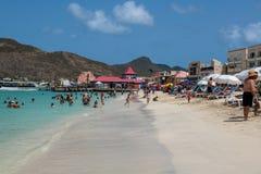 St Maarten di divertimento della spiaggia Fotografia Stock Libera da Diritti