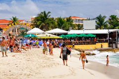 St. Maarten Maho Bay Beach Sunset Bar & Grill royalty free stock photo