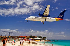 St. Maarten Maho Bay Plane Landing Royalty Free Stock Photography