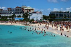 St Maarten Maho Beach Photographie stock