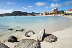 St Maarten, Philipsburg, grande plage de baie Photos libres de droits