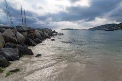St Maarten początek wielka zatoka Zdjęcia Royalty Free