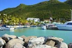St Maarten, privat hamn som är karibisk Arkivbilder