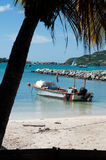 St. Maarten. With a view of just one lonely boat Stock Photography