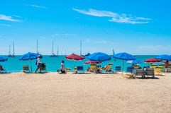 St. Maarten. With a view of people on the beach stock image