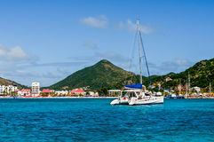 St. Maarten. With a view of Philipsburg and a Catamaran Royalty Free Stock Photography