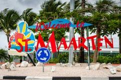 St Maarten Welcome Sign arkivfoton
