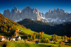 St. Magdalena mountain village in autumn stock images