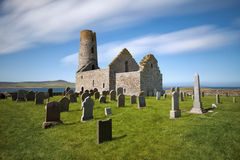 St Magnus Church, Egilsay, Orkney, Scotland. St Magnus Church on the Island of Egilsay, Orkney, Scotland is a partially ruined 12th century Norse structure with Stock Photos