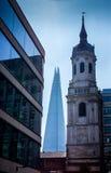 St Magnus męczennik Kościelna iglica z Londyńskim czerepem Zdjęcie Stock