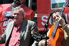 1st Maj demonstration. Flamencosångare 68 Arkivfoto