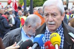 1st Maj demonstration i Gijon, Spanien Arkivbilder