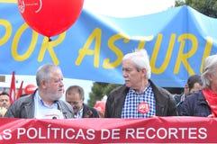 1st Maj demonstration i Gijon, Spanien Fotografering för Bildbyråer