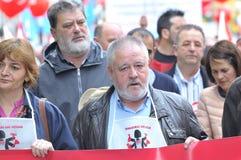 1st Maj demonstration i Gijon, Spanien Arkivbild