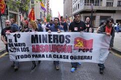 1st Maj demonstration i Gijon, Spanien Royaltyfri Fotografi