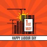 1st Maja święta pracy sztandaru Szczęśliwy szablon z żurawiami, budynkami i wschodem słońca, wektor ilustracji