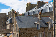 St. Malo in Brittany, France. The city walls and houses of St. Malo in Brittany, France Royalty Free Stock Images