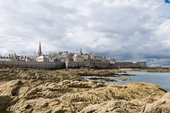 St Malo, Brittany, France. View of the town walls St Malo, Brittany, French Royalty Free Stock Images