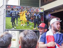 French football fans at France in front of the tv, during the final match of FIFA World Cup Russia 2018 France vs Croatia. France. ST MALO, FRANCE - JULY 15 stock images