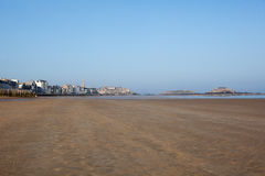 St-Malo and the magnificent city beach Stock Photos