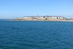 St Malo in Northern France. Seen from a distance stock images