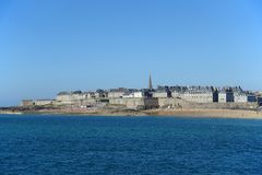 St Malo in Northern France. Taken from the sea royalty free stock photography