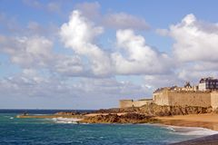 St Malo, seen by the beach Brittany, France Stock Photo