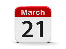 21st March. Calendar web button - The Twenty First of March - World Poetry Day, International Day of Puppetry, International Day for the Elimination of Racial royalty free illustration