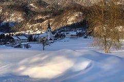 St. Margaret`s Church in Bohinjska Bela - winter picture stock photo