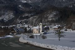 St. Margaret`s Church in Bohinjska Bela - winter picture stock images