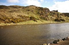 St margaret's loch. In holyrood park, edinburgh, scotland Royalty Free Stock Photo