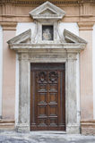 St. Margherita Convent. Wooden Portal.Umbria. Royalty Free Stock Images