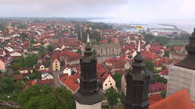 St Maria Cathedral in the old Hansa city Visby on Gotland in Sweden, Aerial Stock Photo