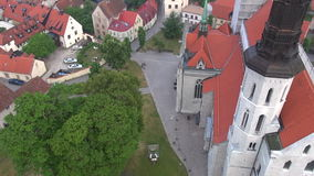 St Maria Cathedral in the old Hansa city Visby on Gotland in Sweden, Aerial Royalty Free Stock Images